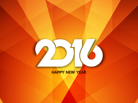 new years: Colorful modern happy new year 2016 greeting card design. Illustration
