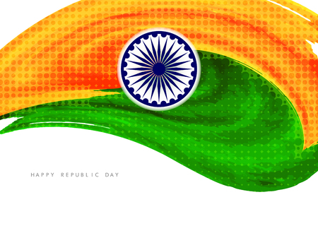 august: Modern Indian flag theme design on white background. Illustration