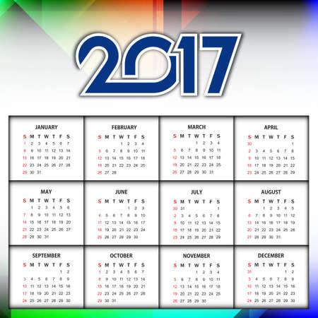 calendar design: Beautiful calendar design of new year 2017.