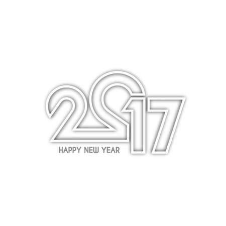 happy new year text: Beautiful text design of happy new year 2017 with shadow Illustration