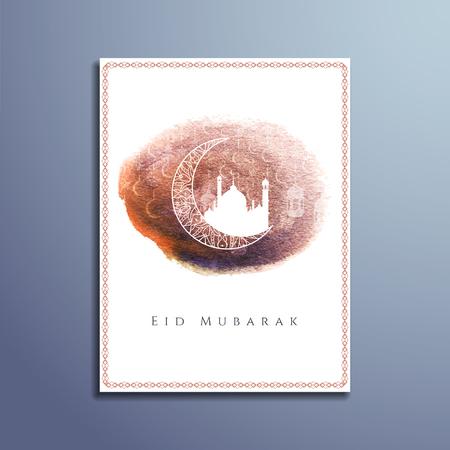 fasting: Abstract Eid Mubarak islamic flyer design Illustration