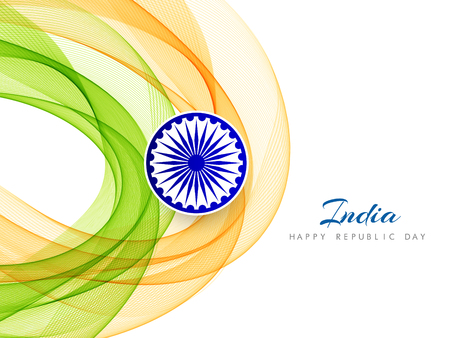 Abstract Indian Flag theme wavy design background