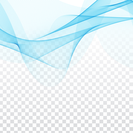 Abstract elegant blue waves design on transparent background.
