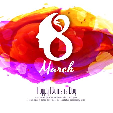 Abstract Happy Womens Day colorful watercolor background design.