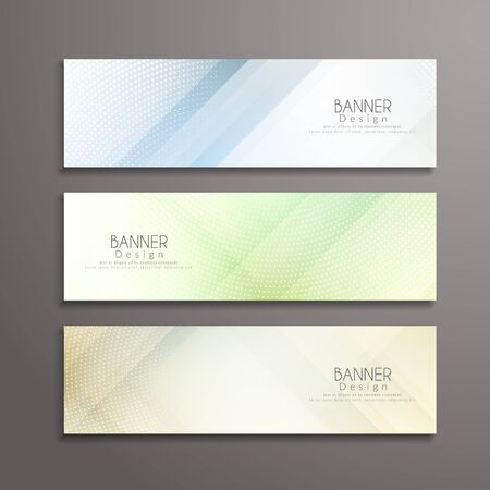 Modern bright banners template designs illustration. Vettoriali