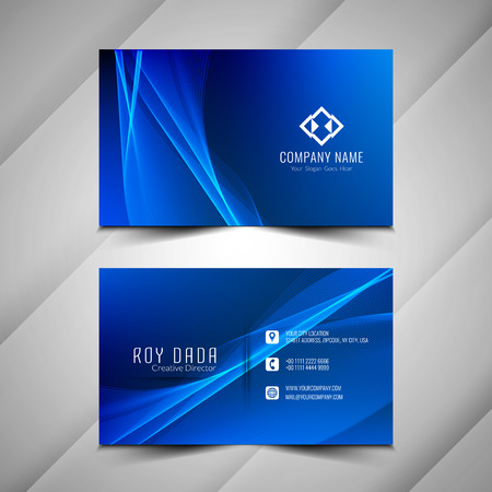 Abstract colorful wavy business card stylish template