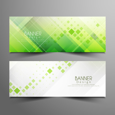 Abstract blue geometric banner set