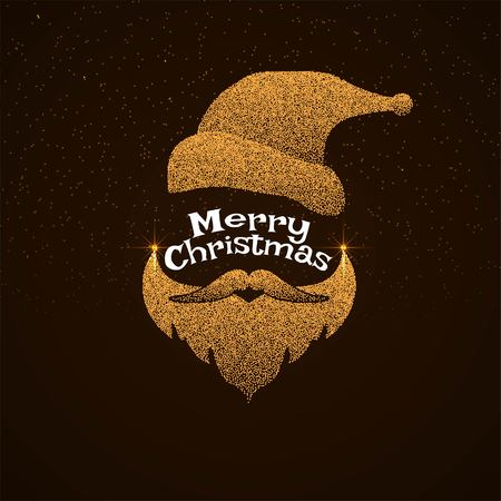 Elegant Merry Christmas greeting with dotted santa face Illustration