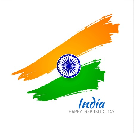 Abstract Indian Flag theme tricolor Illustration