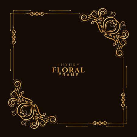 Stylish golden floral frame design ornamental background vector
