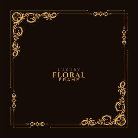 Ethnic golden floral frame design decorative background vector Stock fotó - 155870050