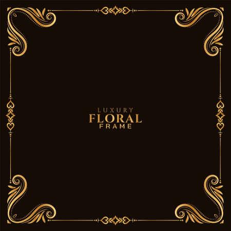Elegant golden floral frame decorative background vector