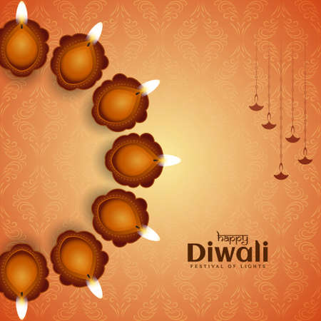 Happy Diwali festival greeting background with lamps vector