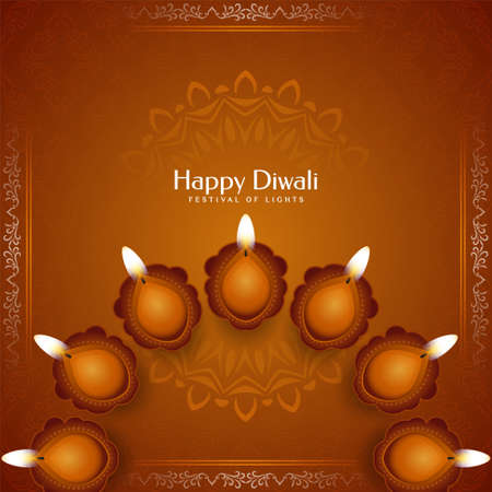Stylish brown color Happy Diwali festival background vector