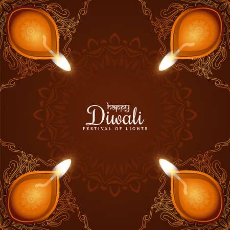 Happy Diwali traditional festival celebration background vector Vektorové ilustrace