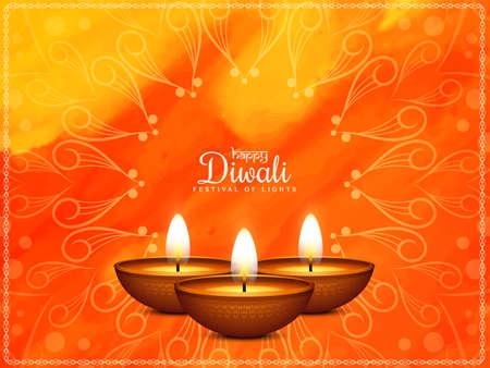 Happy Diwali festival greeting bright watercolor background vector Vektorové ilustrace