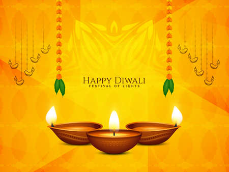 Happy Diwali festival beautiful religious background with lamps vector