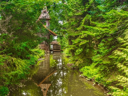 water mill: Old water mill in the forest. Stock Photo