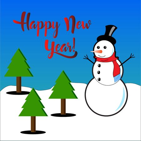 subtitles: Happy New Year with snowman and pine trees subtitles