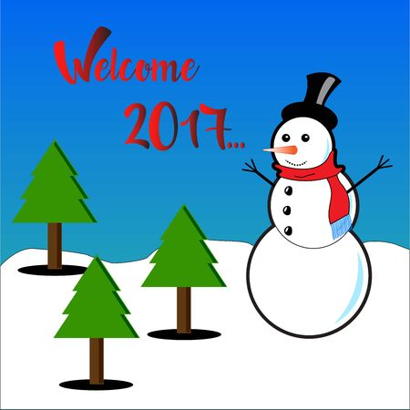 subtitles: Welcome 2017 with subtitles snowman and pine trees
