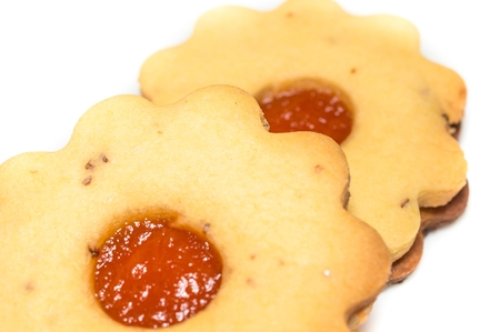 linz: Isolated homemade apricot jam Linzer close up. Stock Photo