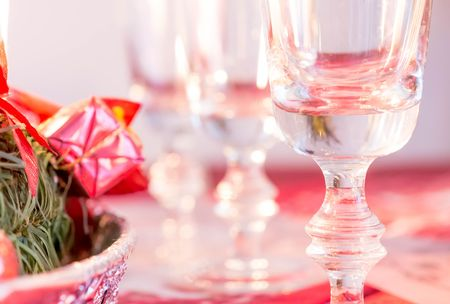 Empty champagne glasses on table Stock Photo