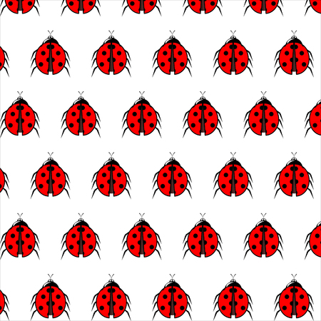 Ladybug vector pattern. Endless texture can be Used for wallpaper, printing on fabric, paper, scrapbooking. Illustration