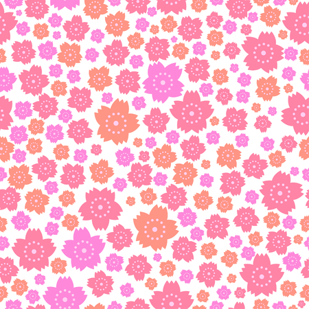 A Seamless pattern of cute pink and orange flowers on white background.