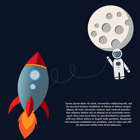 Astronaut travel to the moon with space rocket. Stars background with moon.