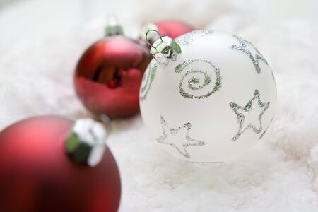Red and white christmas balls Stock Photo - 3878290
