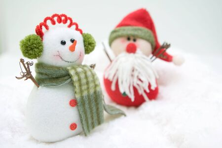 Snowman and Santa showing their friendship for everyone Stock Photo - 3888539