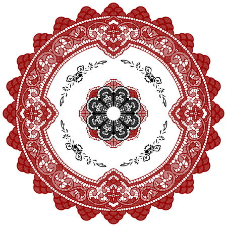 Vector circular ornament, with floral elements and details. Illustration