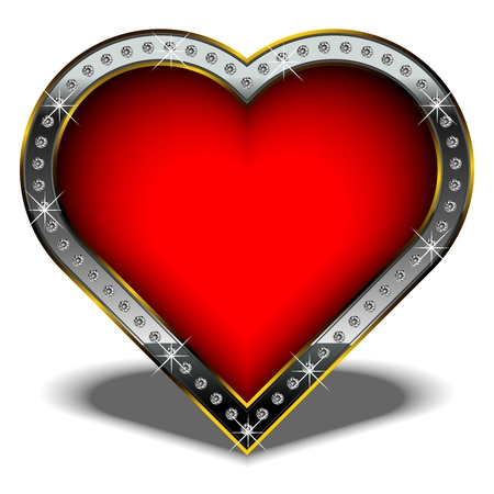 Isolated vector valentine heart, decorated with diamonds. Illustration