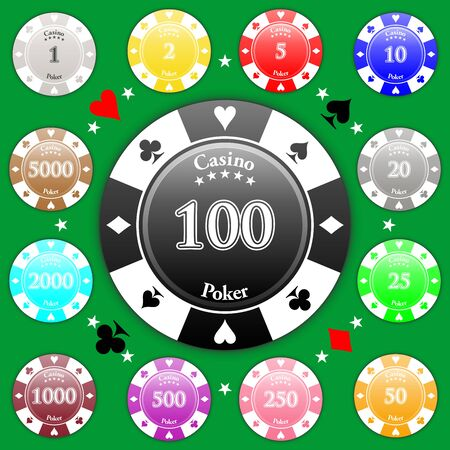 gambling chip: Set of poker chips of value from 1 to 5000.