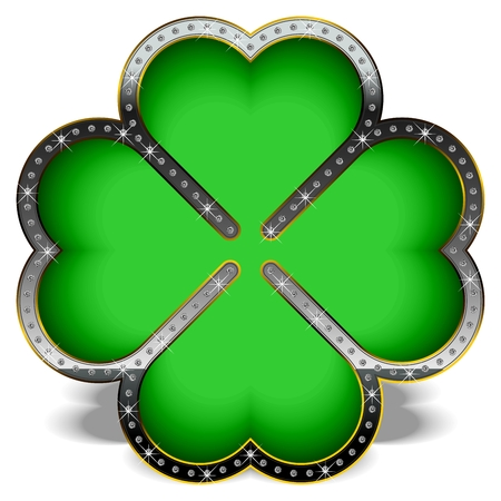 Green clover in a luxury frame, decorated with diamonds.