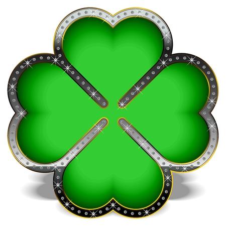 four fourleaf: Trifoglio verde in una cornice di lusso, decorato con diamanti.