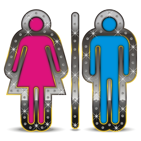 Male and woman gender symbol, displayed in a luxurious way with diamonds.