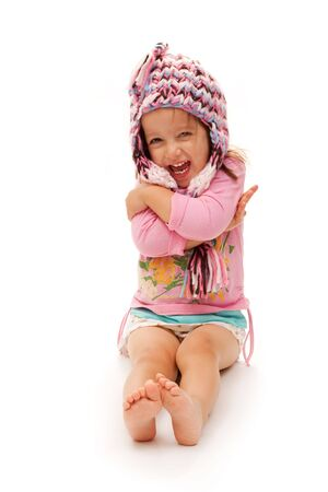 Happy Girl With Hat On White Background.