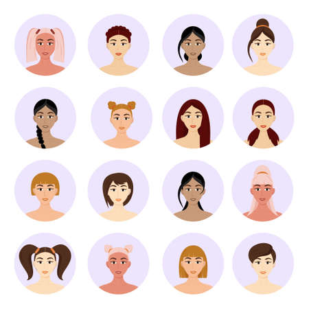 Set of avatar women's hairstyles. Beautiful young girls with different hairstyles isolated on a white background. Векторная Иллюстрация
