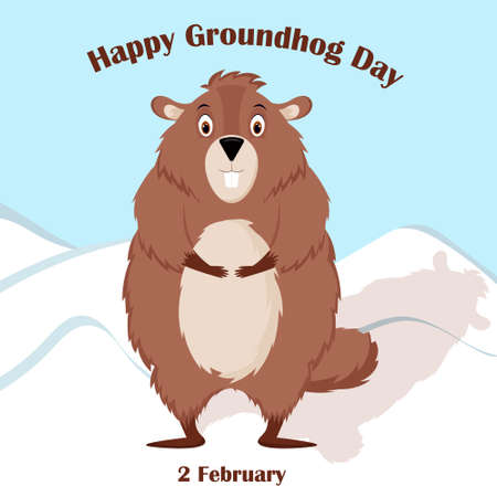 Happy Groundhog Day. Design with cute groundhog character.