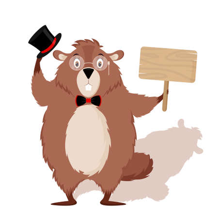 Happy Groundhog Day. Design with cute groundhog character in hat with bow tie and sign in hands Çizim