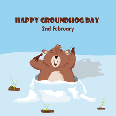 Happy Groundhog Day. Design with a cute groundhog character that pops out of a hole.