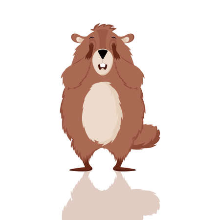 Happy Groundhog Day. Design with cute groundhog character who closes his eyes. Çizim