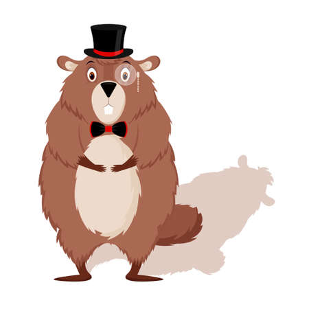 Happy Groundhog Day. Design with cute groundhog character in hat with bow tie.