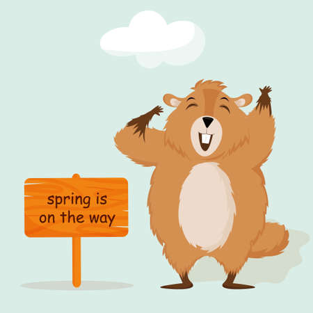 Happy Groundhog Day. Design with cute groundhog character. Funny groundhog with a sign.