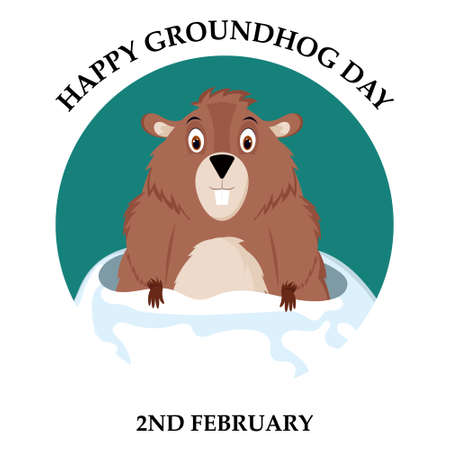 Happy Groundhog Day. Vector illustration of a funny groundhog. A postcard with a cute groundhog and text. Çizim