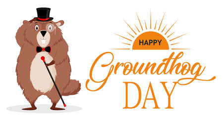 Happy Groundhog Day. Banner with the image of a funny elegant groundhog with a suit. Çizim