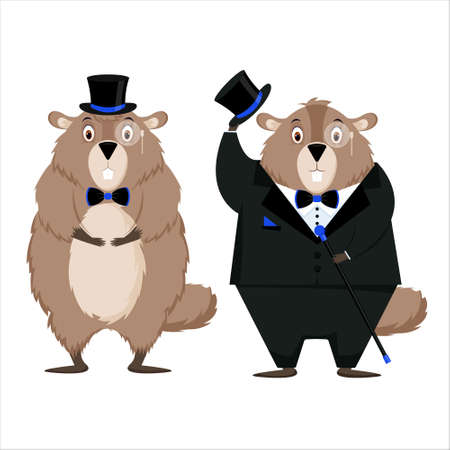 Happy Groundhog Day. A set of elegant groundhog in a tuxedo.