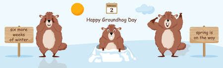 Happy Groundhog Day. Flowchart with an illustration of a funny groundhog. Çizim