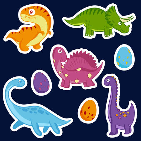 Cute dinosaurs hand drawn vector stickers in cartoon style. Dino flat cliparts. Vector illustration.